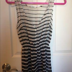 Black & white striped sheer sleeveless blouse